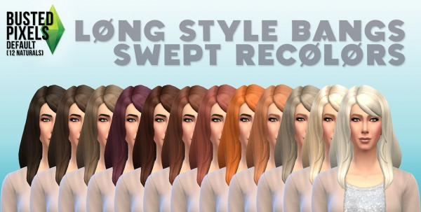Busted Pixels: Long style bangs hairstyle 12 colors for Sims 4