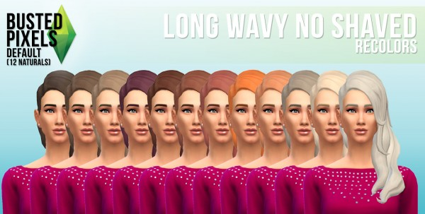 Busted Pixels: Long wavy no shaved hairstyle for Sims 4