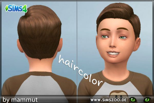 Blackys Sims 4 Zoo: Short Preppy Combed hairstyle Brown for Sims 4