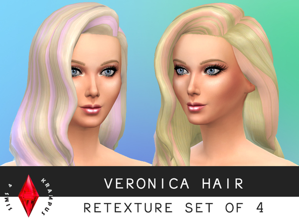 The Sims Resource: Hairstyle Retextured Set of 4 by SIms4Krampus for Sims 4