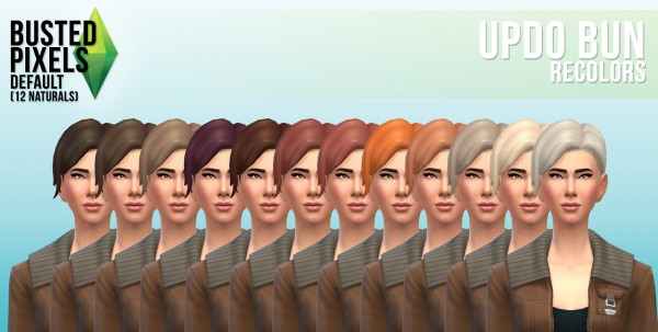 Busted Pixels: Updo bun hairstyle for Sims 4