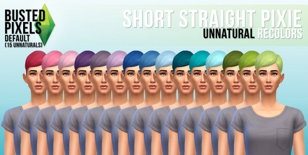 Busted Pixels: Short straight pixie unnatural colors for Sims 4