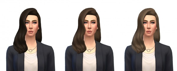 Busted Pixels: Long Wavy classic hairstyle for Sims 4