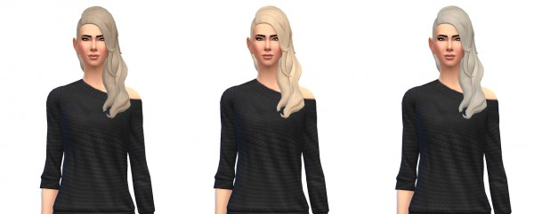 Busted Pixels: Long wavy shaved hairstyle for Sims 4