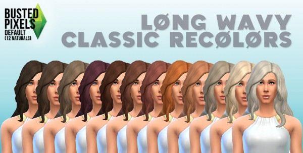 Busted Pixels: Long wavy classic hairstyle 12 colors for Sims 4