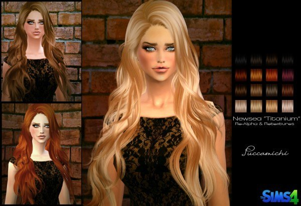 Puccamichi: Newsea`s Titanium hairstyle converted for Sims 4