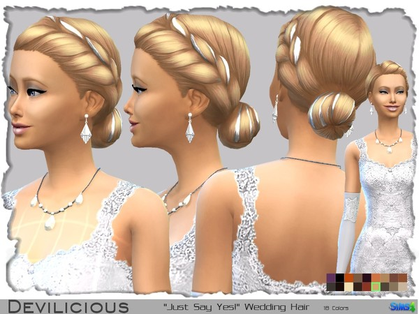 The Sims Resource: Just Say Yes! Wedding Hairstyle by Devilicious for Sims 4