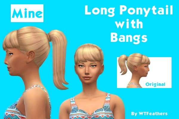 Mod The Sims: Long ponytail with bangs by WTFeathers for Sims 4