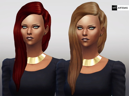 Miss Fortune Sims: Artemis hairstyle in 6 colors variations for Sims 4