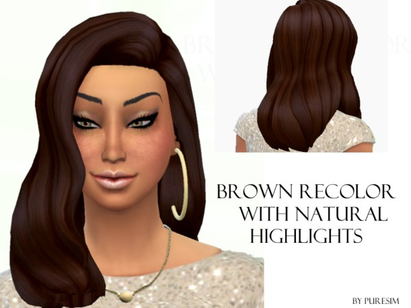 The Sims Resource: Brown hair with natural highlights by Puresim for Sims 4