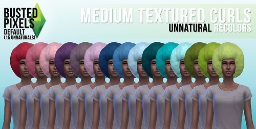 Busted Pixels: Medium textured curls hairstyle unnatural colors for Sims 4