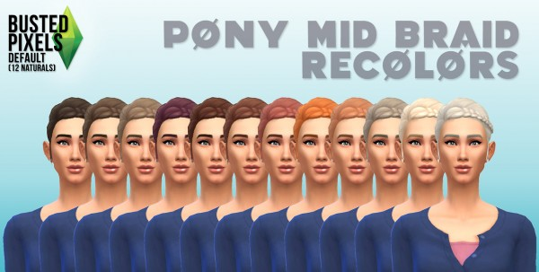 Busted Pixels: Pony mid braid hairstyle  12 colors for Sims 4
