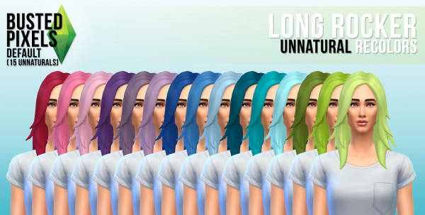 Busted Pixels: Long rocker unnatural hairstyle recolors for Sims 4