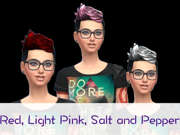The Sims Resource: 8 Colorful Recolors of Short Blow Dry Hairstyle by psychdablue for Sims 4