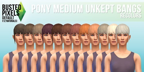 Busted Pixels: Pony medium unkept bangs hairstyle for Sims 4