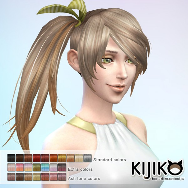 Kijiko Sims: Side Ponytail hairstyle for Sims 4