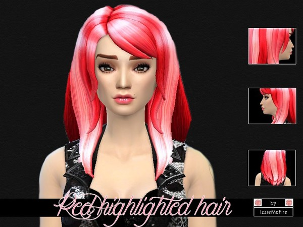 The Sims Resource: Red highlighted hairstyle by Izzy McFire for Sims 4