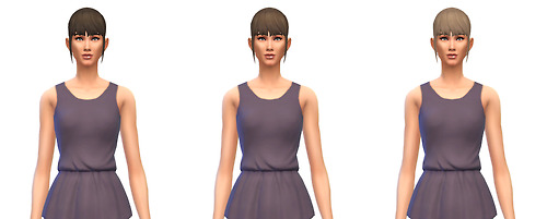 Busted Pixels: Ponytail medium unkept bangs hairstyle recolor for Sims 4