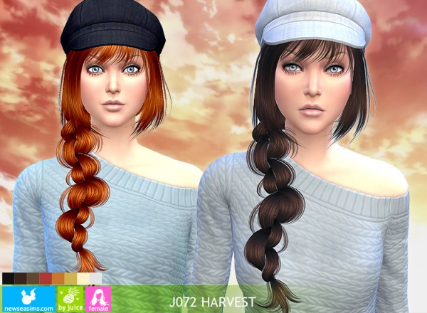 NewSea: J072 Harvest hairstyle   new mesh for Sims 4