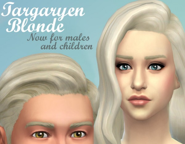 Mod The Sims: Targaryen Blonde hairstyle by kellyhb5 for Sims 4