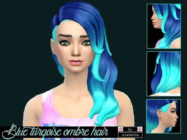 The Sims Resource: Blue turqoise ombre hairstyle by Izzie Mc Fire for Sims 4