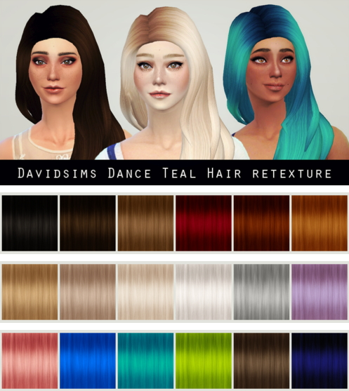 Liahxsimblr: Davidsims Dance Teal Hairstyle Retextured for Sims 4