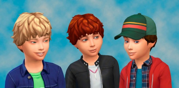 Mystufforigin: Curly Hair for boys for Sims 4
