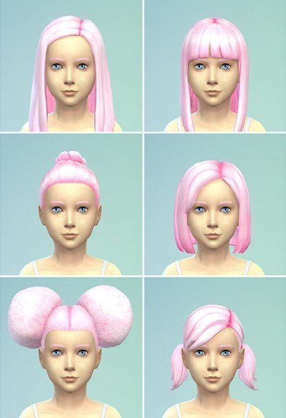 Berry Simlish: Strawberry Ice Cream 3 hairstyle recolor for Sims 4