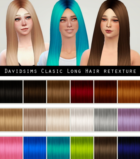 Liahxsimblr: Davidsims Classic Long Hairstyle Retextured for Sims 4