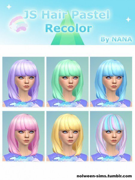 Nolween Sims: Jsboutique`s pastel hairstyles recolor by Nana for Sims 4