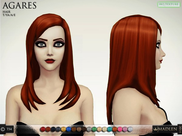 Madlen Sims: Madlen Agares Hairstyle for Sims 4
