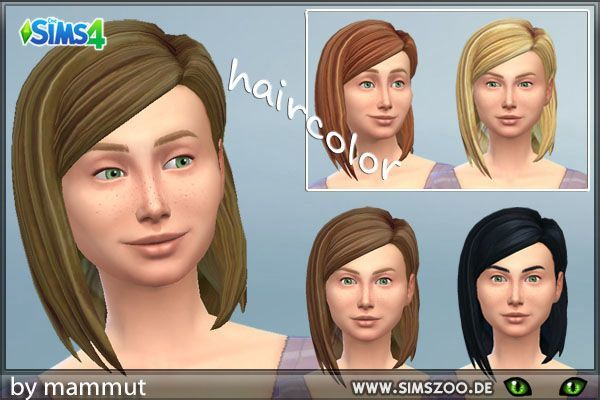 Blackys Sims 4 Zoo: Med Parted hairstyle recolor for Sims 4