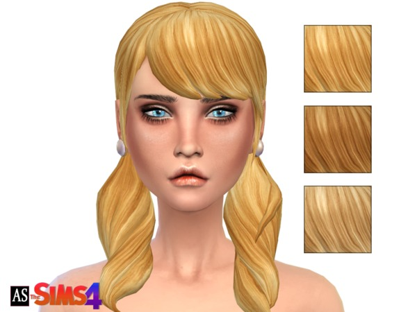 select a Website   : Blonde Ambition   Pigtails Long Wavy Bangs hairstyle recolor by Alexandra Sine for Sims 4