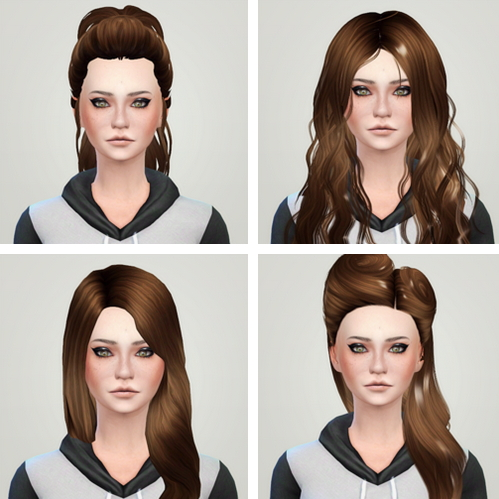 Liahxsimblr: Skysims 167, Newsea 140, Lumialoversims Ellie and Nightcrawler 21 hairstyles Retextured for Sims 4