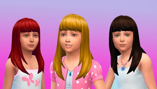 Mystufforigin: Long Straight Bangs for Girls for Sims 4