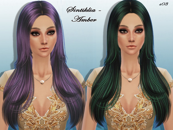 Sintiklia Sims: Amber hairstyle 03 for Sims 4