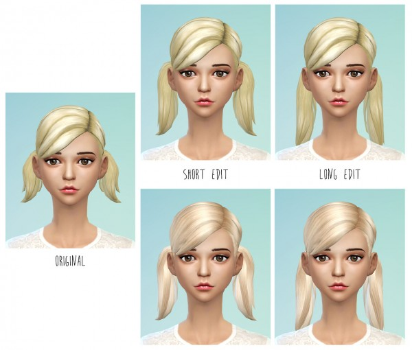 Dani Paradise: Pigtails hairstyle recolor for Sims 4
