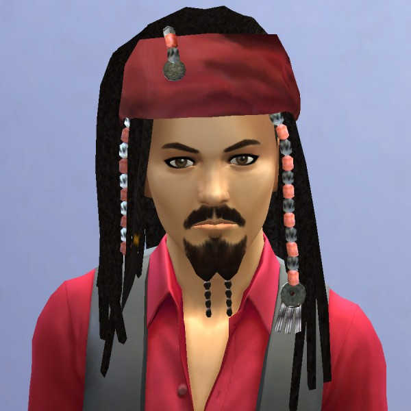 Mod The Sims: Captain Jack Sparrow hairstyle by necrodog for Sims 4