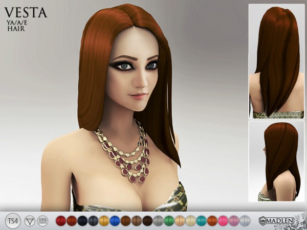 Madlen Sims: Vesta Hairstyle for Sims 4