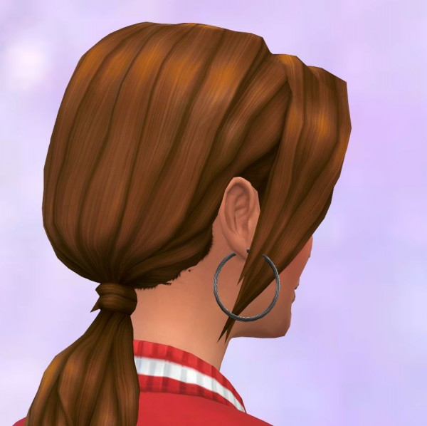 Mod The Sims: Pony Tail Low parted redone by malicieuse75 for Sims 4