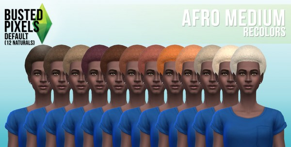 Busted Pixels: Afro medium hairstyle for Sims 4