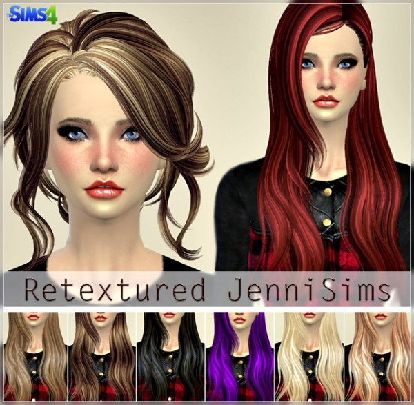 Jenni Sims: Elasims and RucySims Hairsstyles Converted Retextured for Sims 4