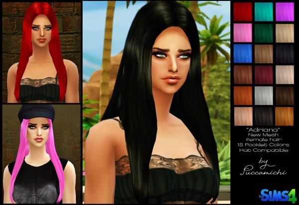 Puccamichi: Adriana hairstyle   new mesh for Sims 4