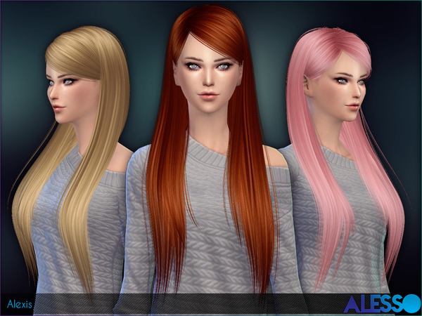 The Sims Resource: Alexis hairstyle by Alesso for Sims 4