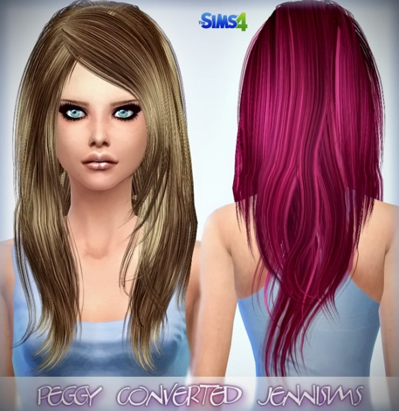 Jenni Sims: Peggy`s hairstyle converted for S4 and Elasims hairstyle retextured for Sims 4