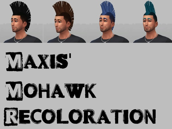 The Sims Resource: Maxis Mohawk Recolor by Reality76 for Sims 4