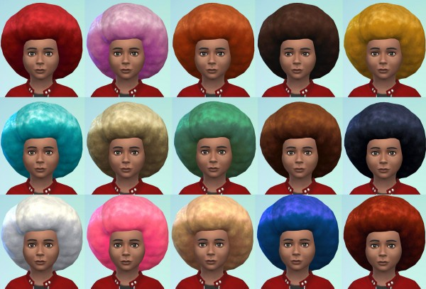 Mod The Sims: Big Afro For Small People   Childrens Conversion by Esmeralda for Sims 4