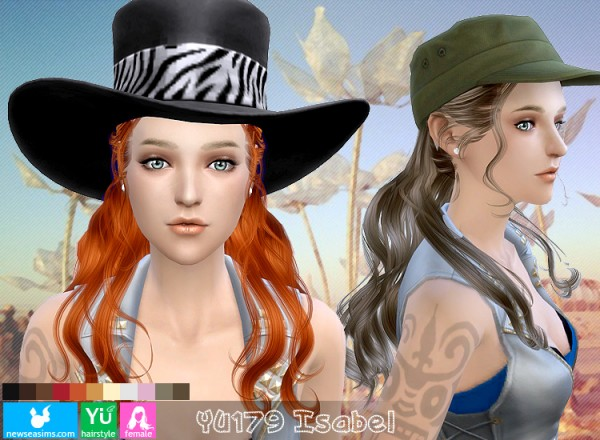 NewSea: YU179 Isabel hairstyle for Sims 4