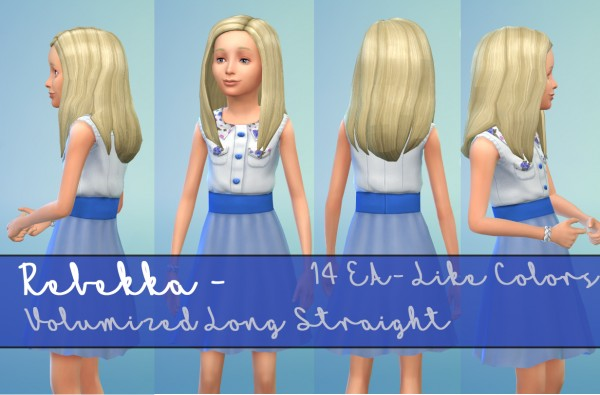Mod The Sims: Rebekka   EAs Volumized Straight Hairstyle for Girls by Kubrick for Sims 4