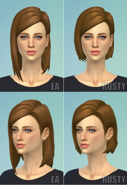 Rusty Nail: Medium straight parted hairstyle for Sims 4